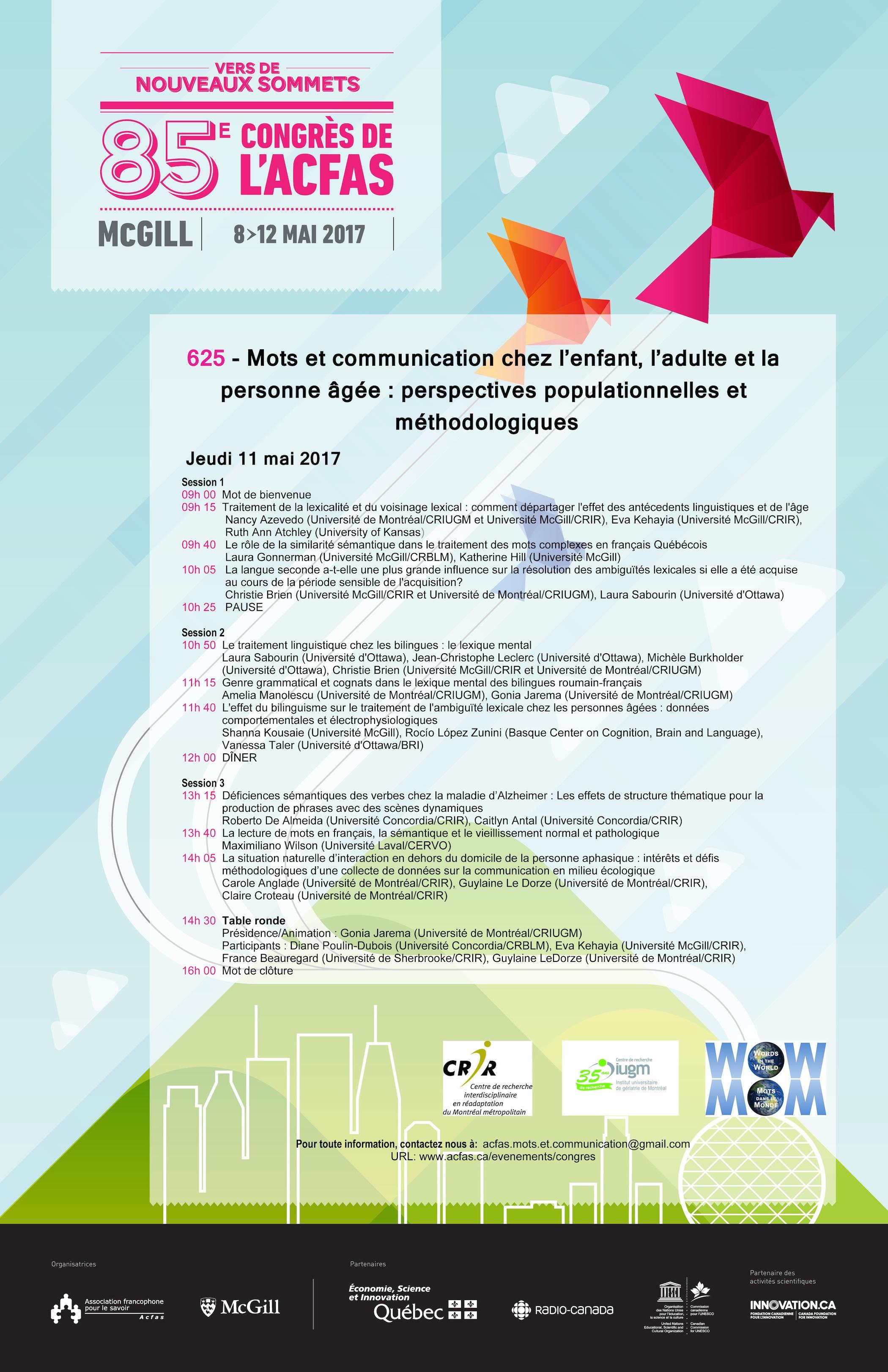 le programme de le 85e édition du congrès